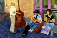 Trio Jamming the Porch at Terlingua-Big Bend, 2018, oil, 36 x 36 in. [01]