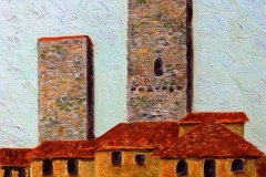 Bell Tower at San Gimignano, 2006, oil, 12 x 9 in. [07] NA