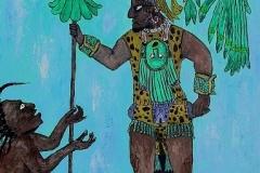 Maya Chief at Bonampak, 1995, acrylic, 18 x 14 in. [02] NA