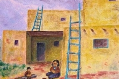 Pueblo at Sunset, 2002, oil, 14 x 11 in. [04]