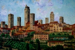 Towers of San Gimignano, 2004, oil, 36 x 60 in. [21]