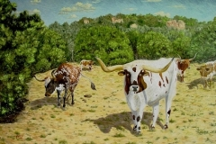 Chuck and the Longhorn five, 2012, oil, 36 x 60 in. [01] NA