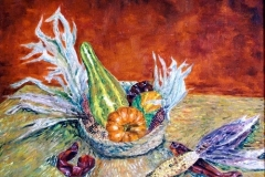 Still Life with Pumkin, Gourds, Peppers and Corn, 1998, oil, 16 x 20 in. [05]
