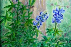 Still Life with Three Bluebonnets, 1999, oil, 10 x 8 in. [01] NA