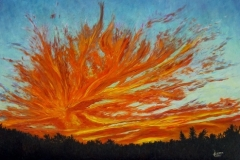 Sunset at Bison Road, 1998, oil, 24 x 36 in. [07]