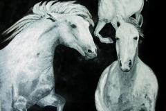 Tres Caballos Salvajes [Three Wild Horses], 2009, oil, 40 x 30 in. [03]